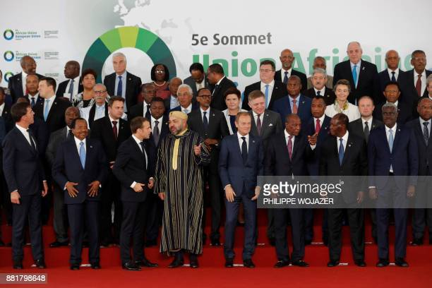 Leaders gather for the family photo during the 5th African Union European Union summit in Abidjan on November 29 2017 Ivory Coast President opened a...