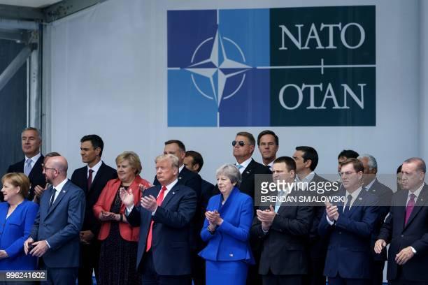 Leaders, German Chancellor Angela Merkel, Belgium's Prime Minister Charles Michel, US President Donald Trump, Britain's Prime Minister Theresa May,...
