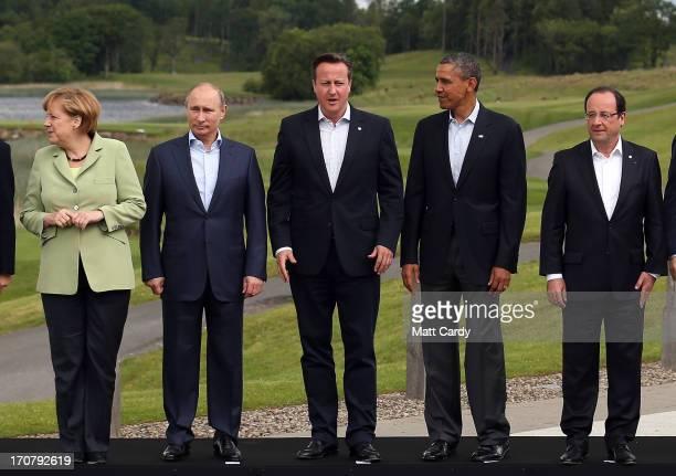 Leaders German Chancellor Angela Merkel Russia's President Vladimir Putin Britain's Prime Minister David Cameron US President Barack Obama and French...