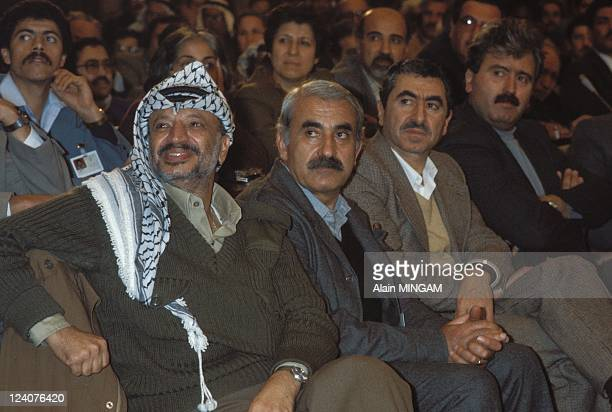 PLO leaders in Tebessa in Algiers Algeria on February 19 1983 From the left Yasser ArafatGeorge Habash Nayef Hawatmeh and George Hawi