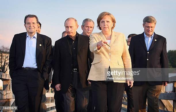 G8 leaders Italian Prime Minister Romano Prodi Russian President Vladimir Putin US President George W Bush German Chancellor Angela Merkel and...