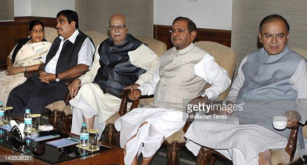NDA leaders Jaswant Singh Sushma Swaraj Nitin Gadkari L K Advani Sharad Yadav and Arun Jaitley attend the NDA meeting at Advani's residence on April...