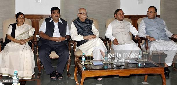 NDA leaders Jaswant Singh Sushma Swaraj Nitin Gadkari L K Advani Sharad Yadav and Arun Jaitley attend the NDA meeting at Advani's residence on April...