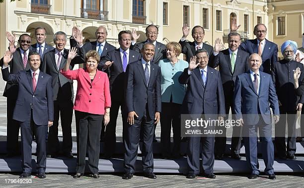 G20 leaders Mexicos President Enrique Pena Nieto Brazils President Dilma Rousseff US President Barack Obama Germanys Chancellor Angela Merkel...