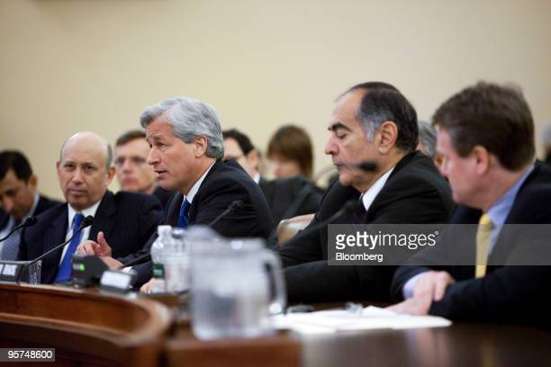 Leaders of four of the biggest US banks left to right Lloyd Blankfein chairman and and chief executive officer of Goldman Sachs Group Inc Jamie Dimon...