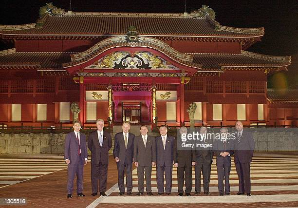 Leaders of Group of Eight pose in front of Shuri Castle July 22 2000 before an official dinner in Naha Japan on the island of Okinawa From left to...