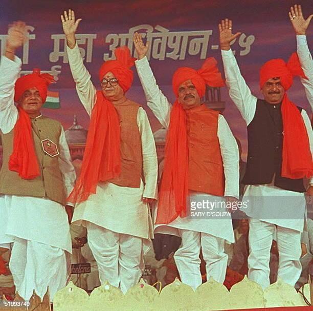 Leaders of India's main opposition party the right wing Hindu Bharatiya Janata Party Atal Behari Vajpayee party president Lal Krishna Advani chief...