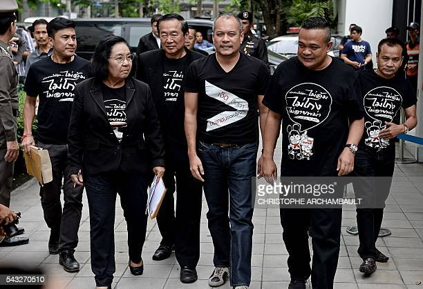 Leaders of Thailand's prodemocracy 'Red Shirt' street movement Thida Thavornseth Natthawut Saikua and Jatuporn Prompan arrive at the British Embassy...