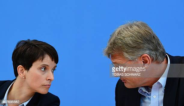 Leaders of the Alternative fuer Deutschland Frauke Petry and Joerg Meuthen attend a press conference one day after regional election polls in Berlin...