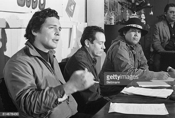 Leaders of the American Indian Movement hold a press conference at Alcatraz Federal Penitentiary during their takeover in 196970 Leaders speaking at...