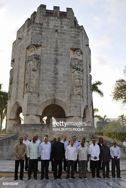 Leaders of the Caribbean countries pose during the family photo on December 7 2008 in front of Jose Marti monument in Santa Efigenia cemetery in...