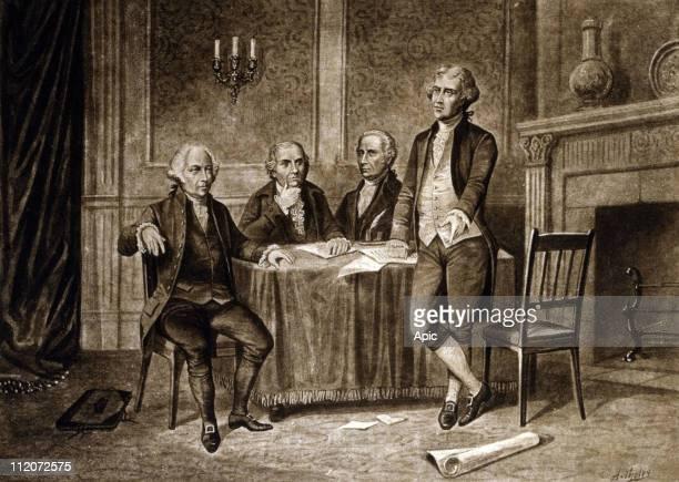 Leaders of the Continental Congress 1775 John Adams Robert Morris Alexander Hamilton Thomas Jefferson drawing by Augustus Tholey