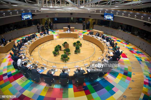 Leaders of the Council of the European Union sit in the round for the second day of an EU summit on March 10 2017 in Brussels Belgium EU leaders are...