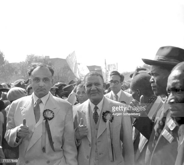 Leaders of the Defiance Campaign Dr James Moroka ANC President and Yusuf Dadoo President of the South African Indian Congress arrive at a...