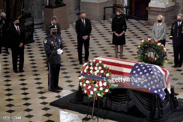 Leaders of the Department of Defense pay their respects at a ceremony to honor the late Justice Ruth Bader Ginsburg as she lies in state at National...