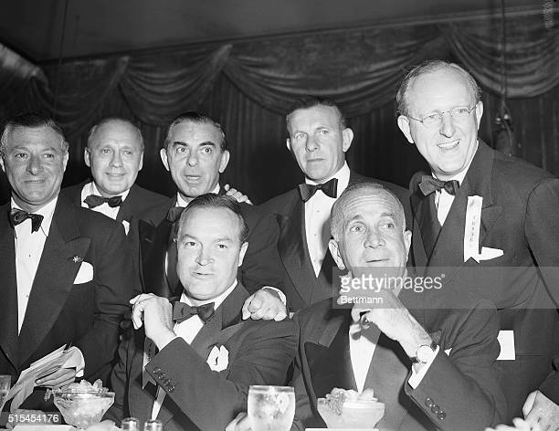 Leaders of the entertainment world join Bob Hope in a group photo at the Friars banquet honoring the comedy star Seated next to Hope is Al Jolson...