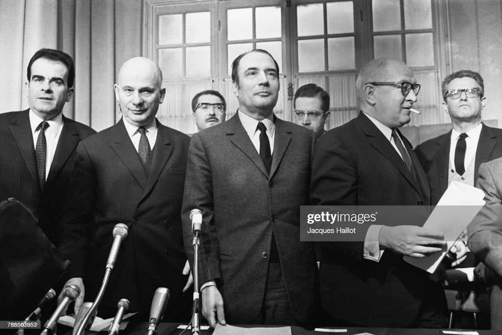 Leaders of the French left, (L-R) Georges Marchais and Wladeck Rochet of the French Communist Party (FCP) and Francois Mitterrand and Guy Mollet of the Federation of the Democratic and Socialist Left (FGDS) during a political meeting.