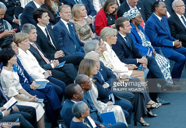 Leaders of the G7 their partners and other guests attend a concert of the La Scala Philharmonic Orchestra during the Summit of the Heads of State and...