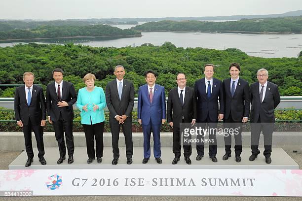 Leaders of the Group of Seven major economies European Council President Donald Tusk Italian Prime Minister Matteo Renzi German Chancellor Angela...