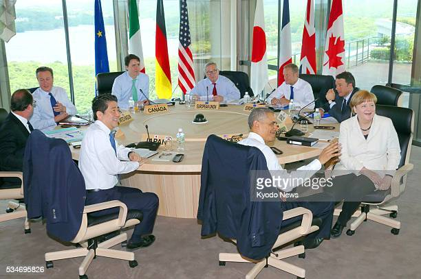 Leaders of the Group of Seven major economies -- Japanese Prime Minister Shinzo Abe, French President Francois Hollande, British Prime Minister David...