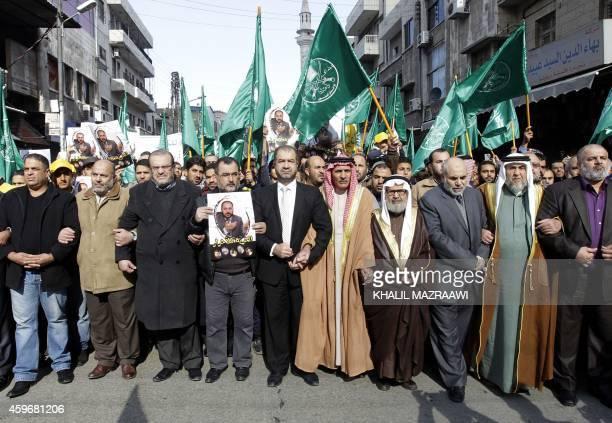 """Leaders of the Muslim Brotherhood in Jordan lead a demonstration in the capital Amman on November 28 against Israeli """"violations"""" regarding the..."""