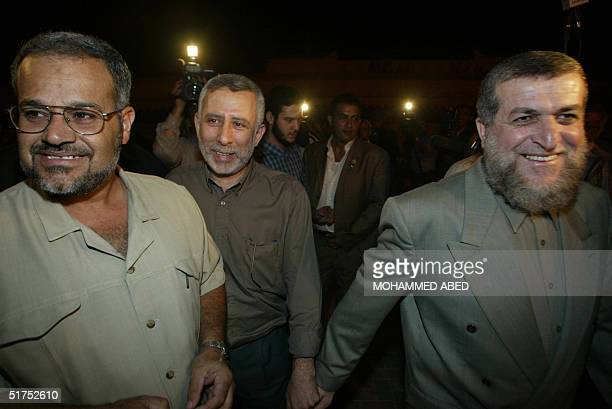 Leaders of the radical Islamic Jihad group Mohammed alHindi Nafez Azam and Khader Habib arrive for a meeting with the new head of the Palestine...