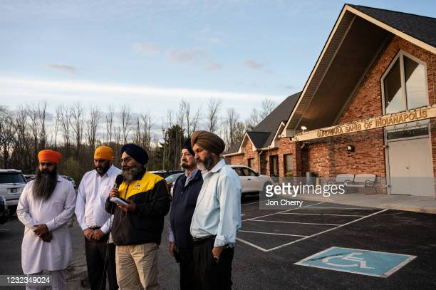 Leaders of the Sikh Satsang of Indianapolis participate in an interview addressing their grief in the parking lot of their temple on April 16, 2021...