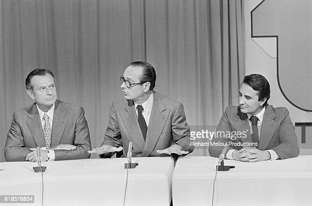 Leaders of the three French political parties composing the majority Centre des Democrates Sociaux Rassemblement pour la Republique and Parti...