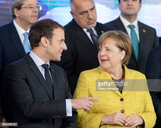 EU leaders pose during a ceremony on the Permanent Structure Cooperation on the margin of an European Council in the Europa the EU Council...