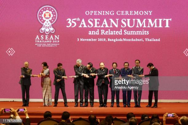 ASEAN leaders pose during the opening ceremony 35th ASEAN Summit and Related Summits at IMPACT Muang Thong Thani in Nonthaburi Thailand on November 3...