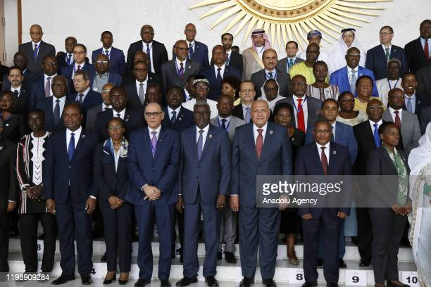 Leaders pose for a family photo during the 33rd African Union Heads of State Summit at African Union headquarters in Addis Ababa, Ethiopia on...
