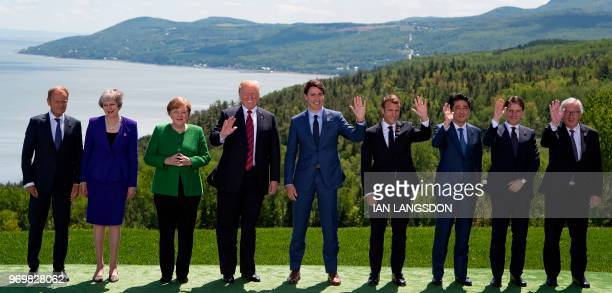 G7 leaders pose for the family photo during the G7 Summit on June 8 2018 in La Malbaie Canada From left are European Council President Donald Tusk...