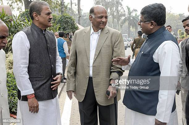 NCP leaders Prafful Patel and Sharad Pawar with Minister for Communications and IT on the first day of the Budget session of Parliament