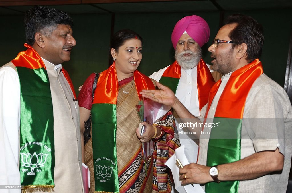 BJP leaders Ravi Shankar Prasad, Smriti Irani, Mukhtar Abbas Naqvi and SS Ahluwalia during the first meeting of newly-appointed office bearers of the party on April 7, 2013 in New Delhi, India. They are expected to discuss the strategy for the 2014 general elections. The meet comes a day after the BJP 33rd Foundation Day celebrations.