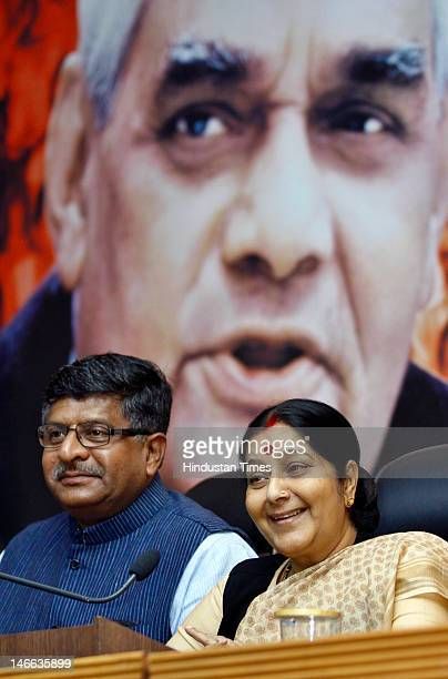 BJP leaders Ravi Shanker Prasad and Sushma Swaraj attend a press conference at the party headquarters on June 21 2012 in New Delhi India BJP has...