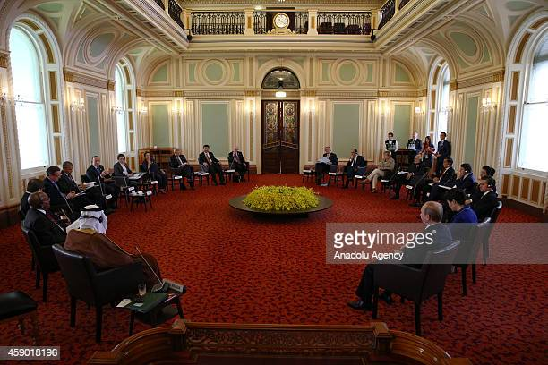 G20 leaders retreat held in the Red Chamber at Parliament House during the G20 Leaders' Summit on November 15 2014 in Brisbane Australia