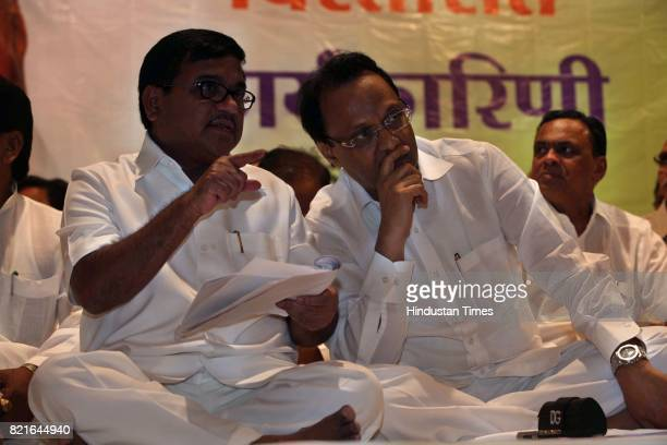NCP leaders RR Patil and Ajit Pawar during NCP meeting at YB Chavan Auditorium in Mumbai on Thursday