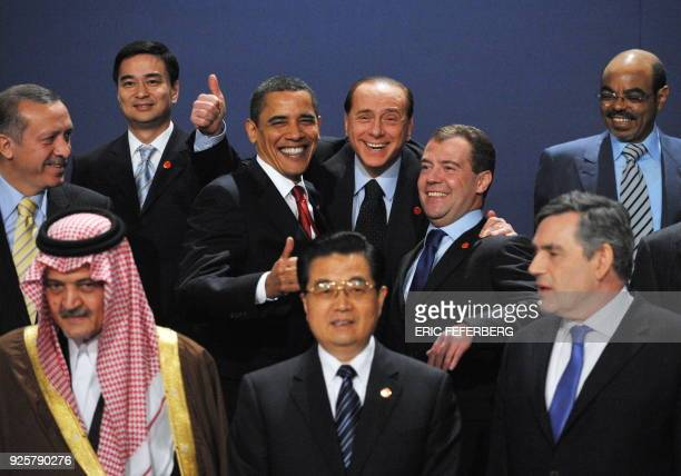 G20 leaders Saudi Foreign Minister Saud alFaisal Chinese President Hu Jintao Britain's Prime Minister Gordon Brown Turkish Prime Minister Recep...