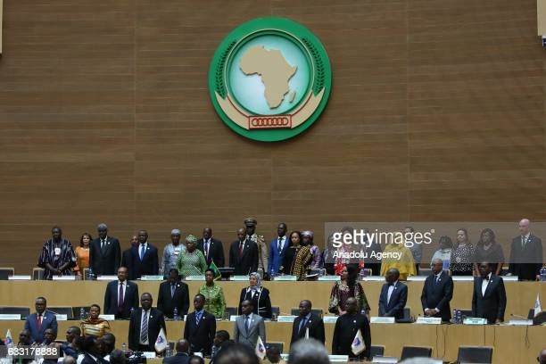 Leaders sing the anthem of the African Union during closing ceremony of 28th African Union Summit at the Nelson Mandela hall in Addis Ababa Ethiopia...
