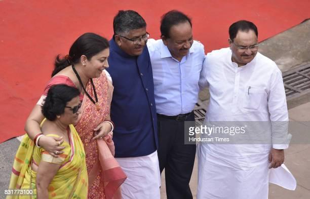 BJP leaders Smriti Irani Ravi Shankar Prasad Dr Harsh Vardhan JP Nadda on the occasion of 71st Independence Day celebrations at Red Fort on August 15...