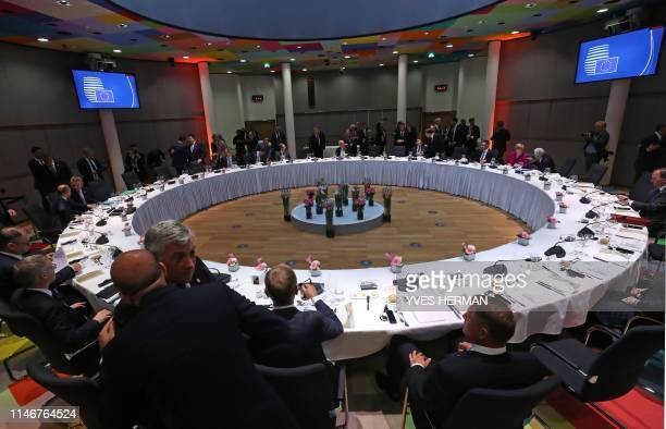 EU leaders speak ahead of a dinner at a European Union summit at EU Commission Headquarters in Brussels on May 28 2019