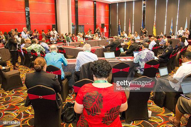 Leaders speak during the Smaller Islands States Leaders meeting as part of the Pacific Islands Forum in Port Moresby Papua New Guinea on September 7...