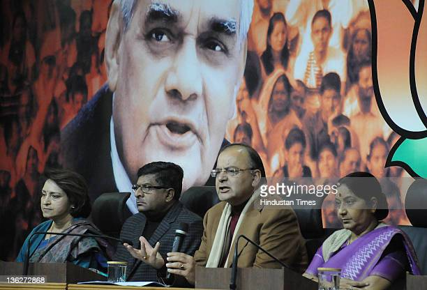 BJP leaders Sushma Swara Arun Jaitley Ravi Shankar Prasad and Maya Singh attend a Press Confrence at BJP Headquarter on December 30 2011 in New Delhi...