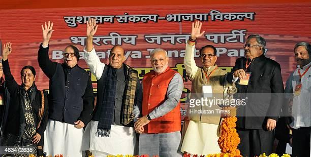 BJP leaders Sushma Swaraj L K Advani President Rajnath Singh party's Prime Ministerial candidate Narendra Modi Madhya Pradesh Chief Minister Shivraj...