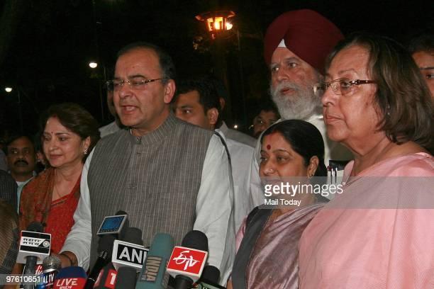 BJP leaders Sushma Swaraj Najma Heptullah and Arun Jaitley talk to the media after the passing of Women's Reservation Bill in Rajya Sabha in New...