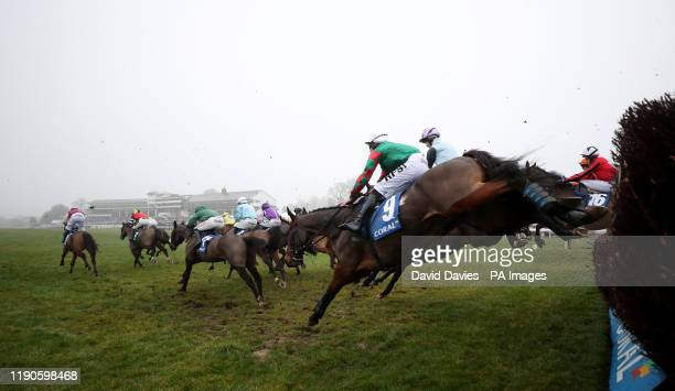 Leaders take the first in the Coral Welsh Grand National Handicap Chase at Chepstow Racecourse.