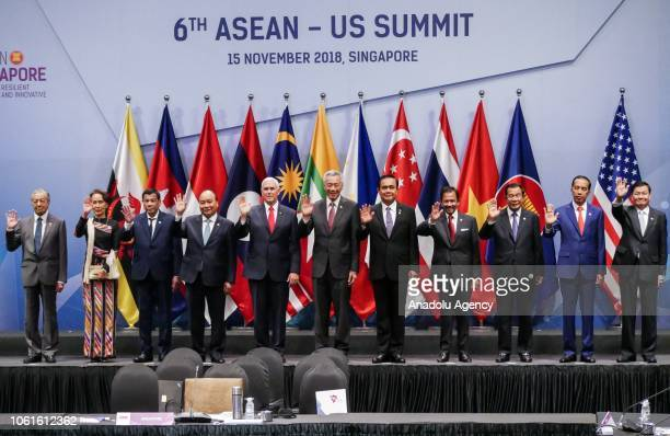 ASEAN leaders with US Vice President Mike Pence pose for photograph during the 6th ASEAN US Summit in Singapore on November 15 2018