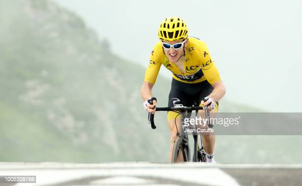 Leader's yellow jersey Geraint Thomas of Great Britain and Team Sky finishing stage 17 of Le Tour de France 2018 between BagneresdeLuchon and...