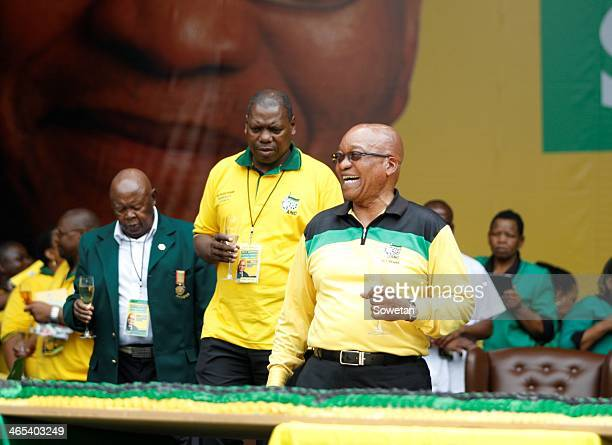 ANC leaders Zweli Mkhize and Jacob Zuma toasting during the launch of the ANC's Election Manifesto at Mbombela stadium on January 11 2014 in...