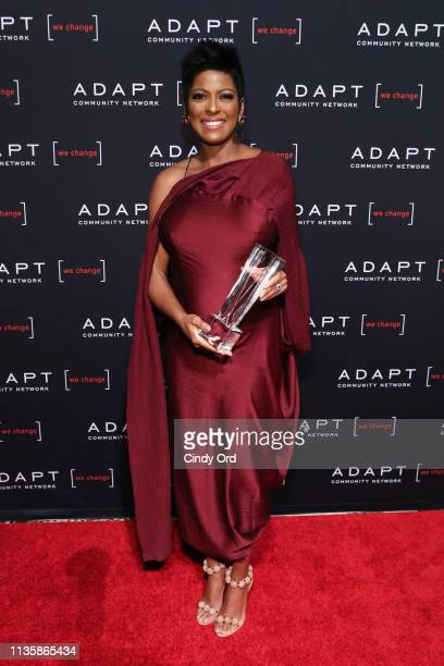 Leadership Award Nominee Tamron Hall poses with her award during the 2019 2nd Annual ADAPT Leadership Awards at Cipriani 42nd Street on March 14 2019...
